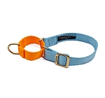Forfurs Duo Martingale Collar Cocktail Blue & Neon Orange  - Large