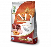 Farmina N&D Dry Dog Food Grain Free Pumpkin Chicken & Pomegranate Adult Mini Breed- 2.5 Kg (Pack Of 4)