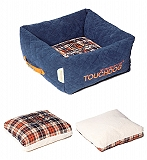 Touchdog Exquisite-Wuff Posh Rectangular Diamond Stitched Fleece Plaid Dog Bed - Medium